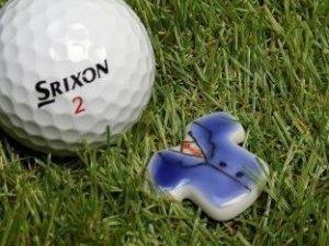 画像1: 清水焼ゴルフマーカー(3)型押し・いっちんタイプ