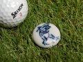 清水焼ゴルフマーカー(1)呉須(藍色染付)タイプ