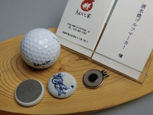 画像2: 清水焼ゴルフマーカー(1)呉須(藍色染付)タイプ