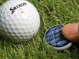 画像1: 清水焼ゴルフマーカー(1)呉須(藍色染付)タイプ
