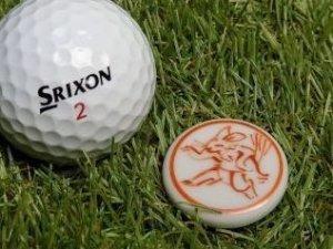 画像1: 清水焼ゴルフマーカー(2)上絵(色物)タイプ